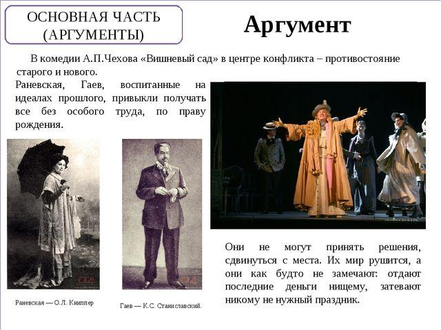 Аргумент В комедии А.П.Чехова «Вишневый сад» в центре конфликта – противосто...
