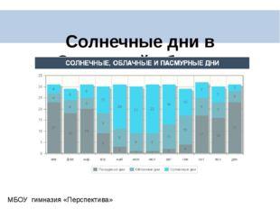 Солнечные дни в Самарской области МБОУ гимназия «Перспектива»