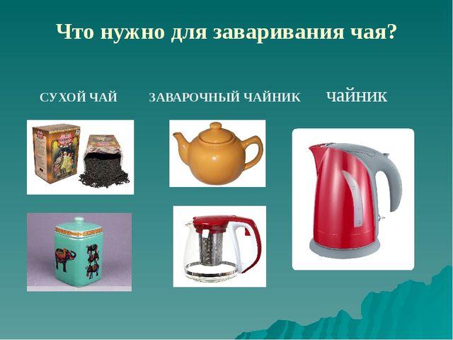 Что нужно для заваривания чая? СУХОЙ ЧАЙ ЗАВАРОЧНЫЙ ЧАЙНИК чайник