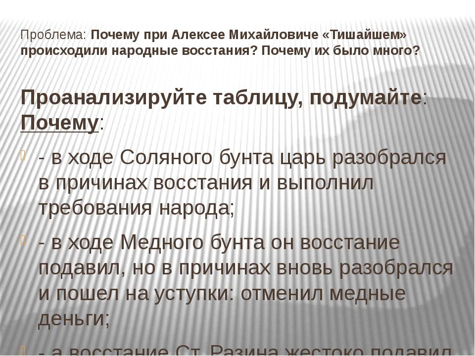 Проблема: Почему при Алексее Михайловиче «Тишайшем» происходили народные восс...