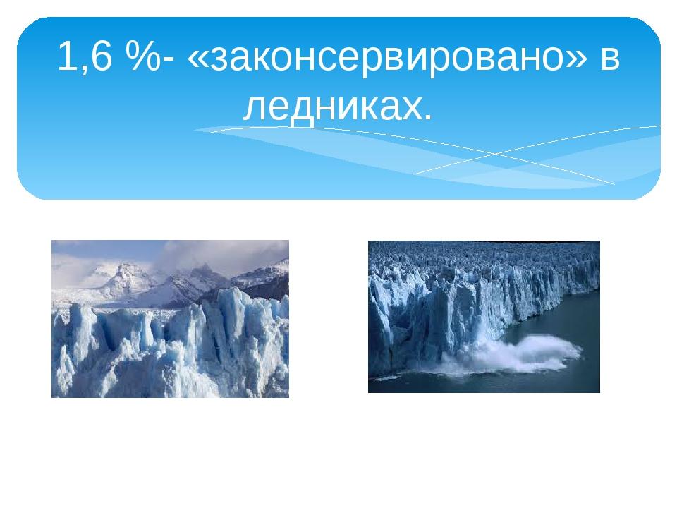 1,6 %- «законсервировано» в ледниках.