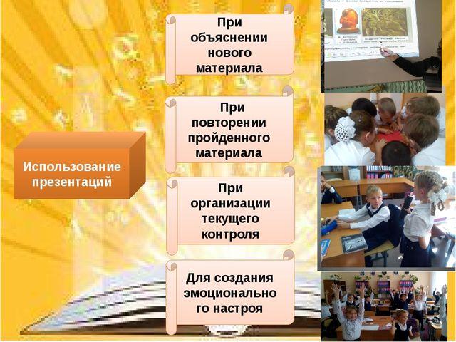 Использование презентаций При объяснении нового материала При повторении прой...