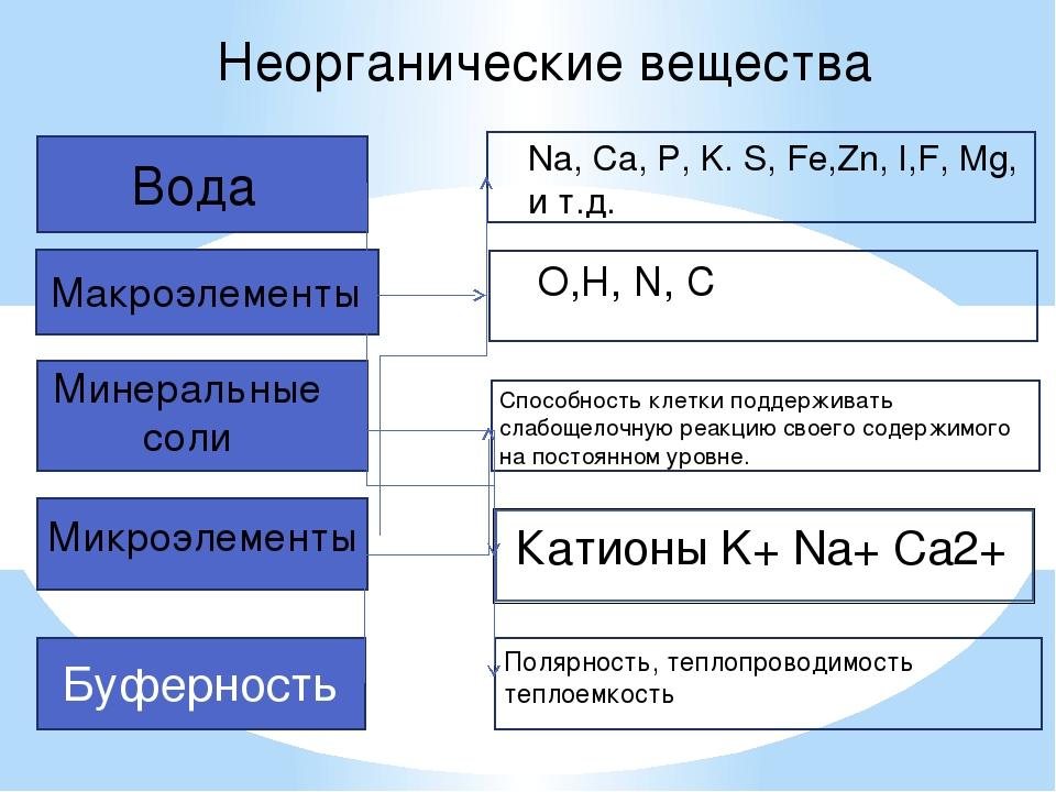 Неорганические вещества Полярность, теплопроводимость теплоемкость Макроэлеме...