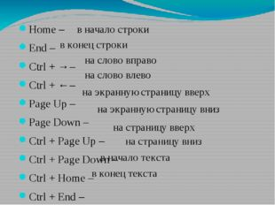 Home – End – Ctrl + → – Ctrl + ← – Page Up – Page Down – Ctrl + Page Up – Ctr