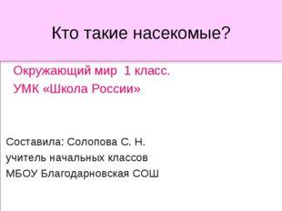 Кто такие насекомые? Окружающий мир 1 класс. УМК «Школа России» Составила: Со