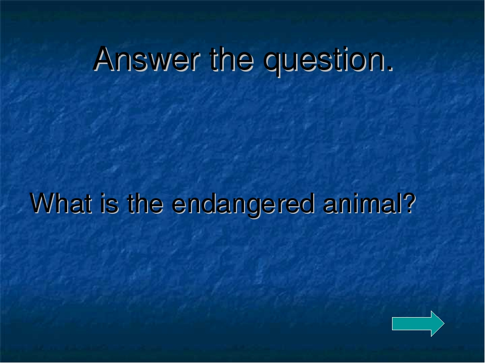 Answer the question. What is the endangered animal?