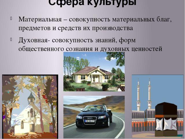 Сфера культуры Материальная – совокупность материальных благ, предметов и сре...