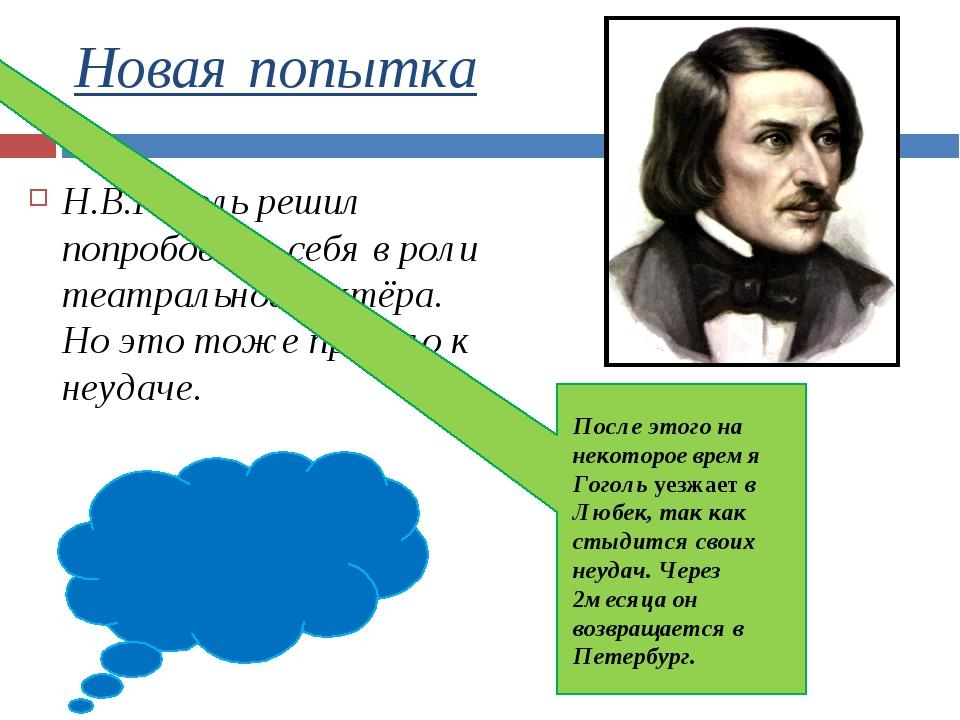 Новая попытка Н.В.Гоголь решил попробовать себя в роли театрального актёра. Н...