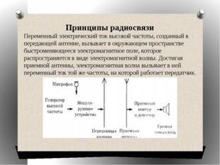 Принципы радиосвязи Переменный электрический ток высокой частоты, созданный