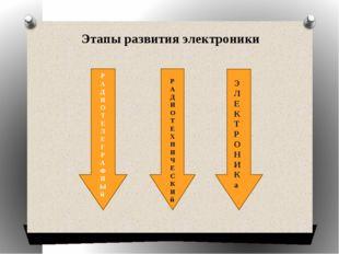 Этапы развития электроники Р А Д И О Т Е Л Е Г Р А Ф Н Ы й Р А Д И О Т Е Х Н