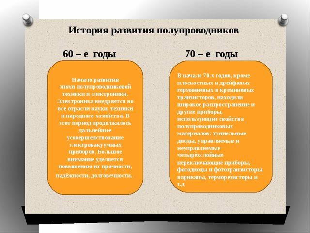 История развития полупроводников 60 – е годы 70 – е годы Начало развития эпо...