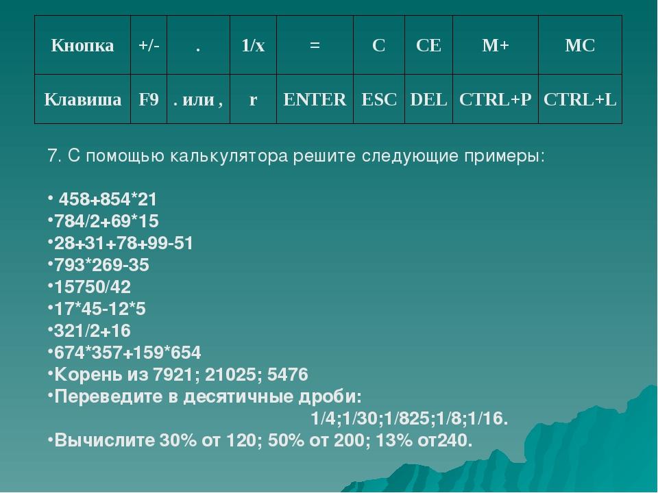 7. С помощью калькулятора решите следующие примеры: 458+854*21 784/2+69*15 28...