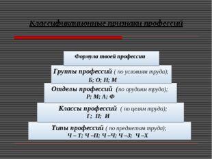 Классификационные признаки профессий Типы профессий ( по предметам труда); Ч