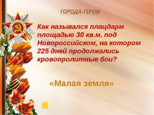 Как назывался плацдарм площадью 30 кв.м. под Новороссийском, на котором 225 д