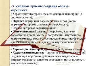 Молчанова М.И., учитель русского языка и литературы 2) 0сновные приемы создан