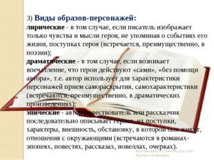 Молчанова М.И., учитель русского языка и литературы 3) Виды образов-персонаже