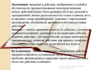 Молчанова М.И., учитель русского языка и литературы Экспозиция- введение в де