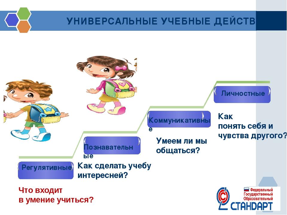 УНИВЕРСАЛЬНЫЕ УЧЕБНЫЕ ДЕЙСТВИЯ Регулятивные Познавательные Как сделать учебу...