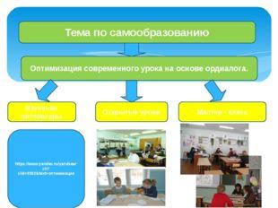 Тема по самообразованию Оптимизация современного урока на основе ордиалога.