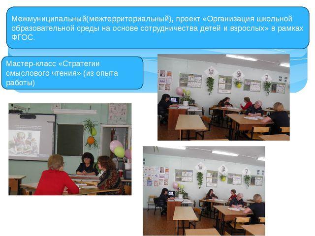 Межмуниципальный(межтерриториальный), проект «Организация школьной образовате...