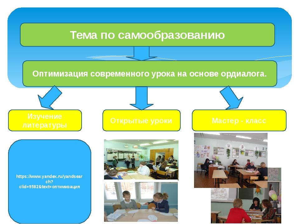 Тема по самообразованию Оптимизация современного урока на основе ордиалога....