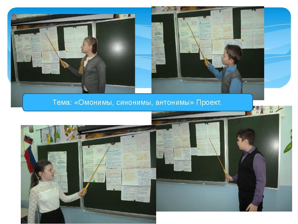 Тема: «Омонимы, синонимы, антонимы» Проект.
