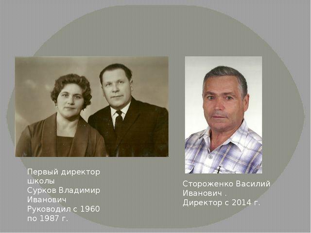 Первый директор школы Сурков Владимир Иванович Руководил с 1960 по 1987 г. С...