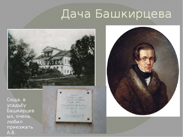 Дача Башкирцева Сюда, в усадьбу Башкирцевых, очень любил приезжать А.В. Кольцов
