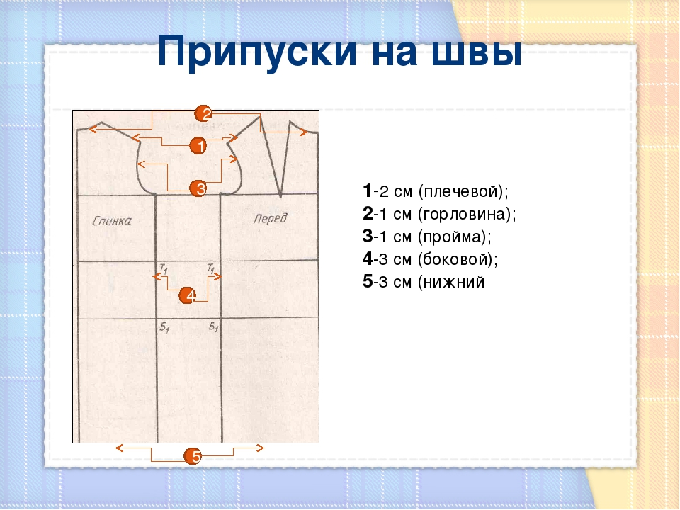 Припуски на швы 1-2 см (плечевой); 2-1 см (горловина); 3-1 см (пройма); 4-3 с...