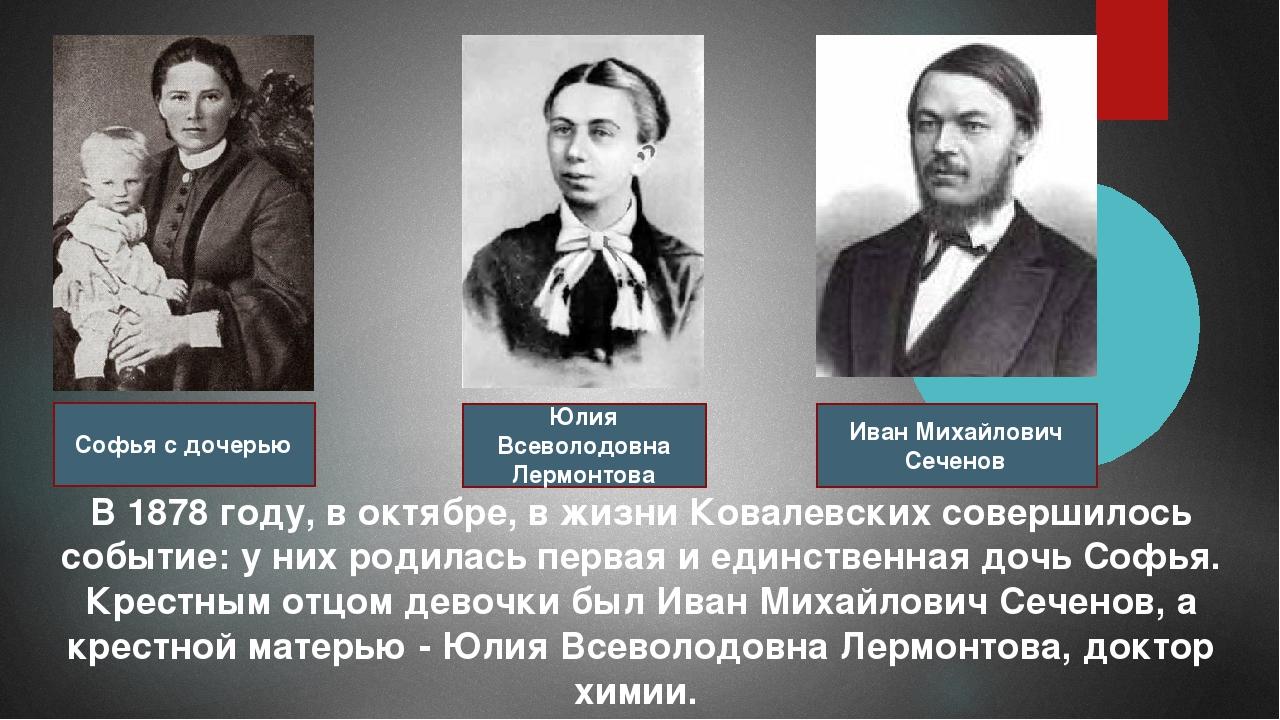 В 1878 году, в октябре, в жизни Ковалевских совершилось событие: у них родила...