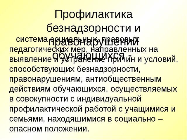 Профилактика безнадзорности и правонарушений обучающихся - система социальных...