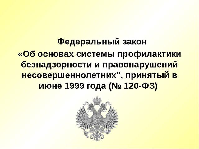 Федеральный закон «Об основах системы профилактики безнадзорности и правонар...