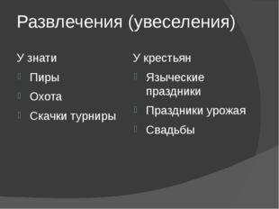 Развлечения (увеселения) У знати Пиры Охота Скачки турниры У крестьян Языческ
