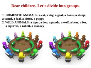 Dear children. Let's divide into groups. DOMESTIC ANIMALS: a cat, a dog, a go