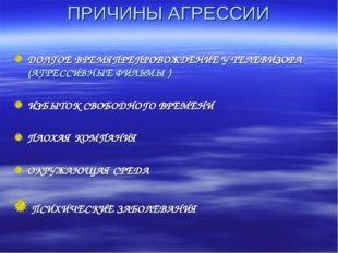 ПРИЧИНЫ АГРЕССИИ ДОЛГОЕ ВРЕМЯПРЕПРОВОЖДЕНИЕ У ТЕЛЕВИЗОРА (АГРЕССИВНЫЕ ФИЛЬМЫ