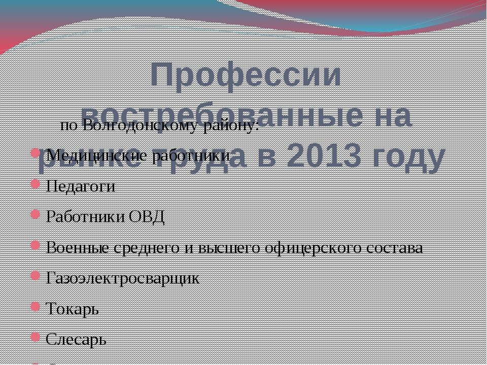 Профессии востребованные на рынке труда в 2013 году по Волгодонскому району:...