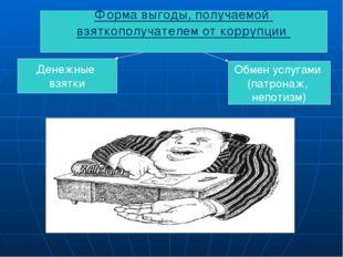 Форма выгоды, получаемой взяткополучателем от коррупции Денежные взятки Обмен