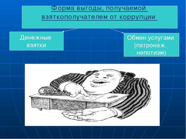 Форма выгоды, получаемой взяткополучателем от коррупции Денежные взятки Обмен...