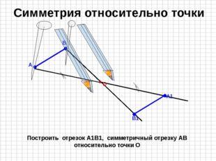 Построить отрезок А1В1, симметричный отрезку АВ относительно точки О Симметр