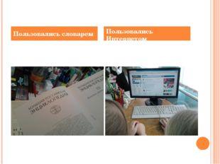 Пользовались словарем Пользовались Интернетом