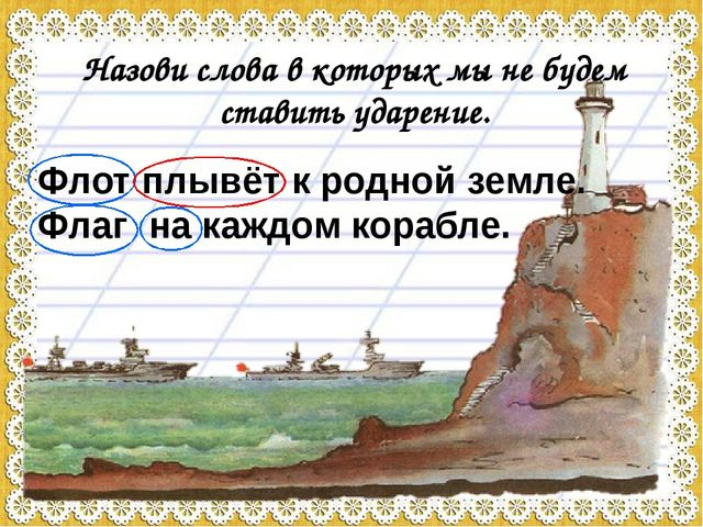 Флот плывёт к родной земле. Флаг на каждом корабле. Назови слова в которых мы...