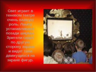 Свет играет в теневом театре очень важную роль. Лампу устанавливают позади ши