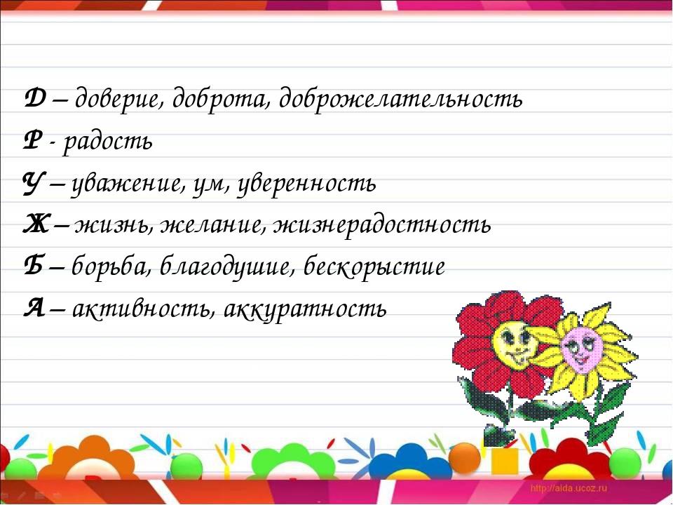 Д – доверие, доброта, доброжелательность Р - радость У – уважение, ум, увере...