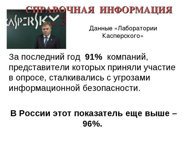 СПРАВОЧНАЯ ИНФОРМАЦИЯ За последний год 91% компаний, представители которых пр...