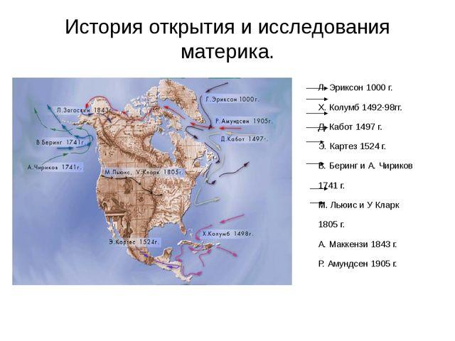 История открытия и исследования материка. Л. Эриксон 1000 г. Х. Колумб 1492-9...