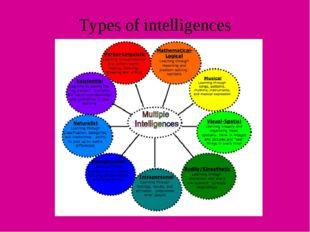 Types of intelligences