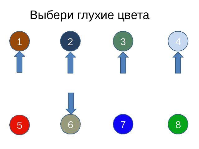 Выбери глухие цвета 1 2 3 4 5 6 7 8