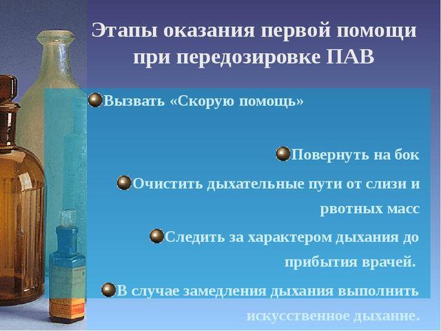 Этапы оказания первой помощи при передозировке ПАВ Вызвать «Скорую помощь»...