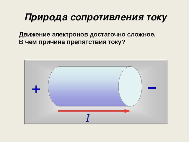 Природа сопротивления току Движение электронов достаточно сложное. В чем прич...