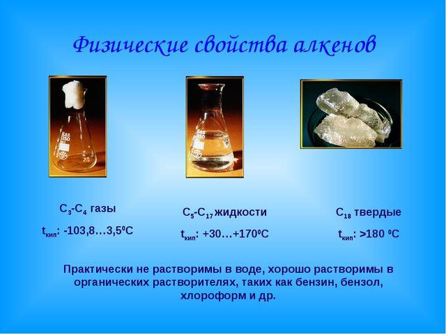 Физические свойства алкенов С3-С4 газы tкип: -103,8…3,50С С5-С17 жидкости tки...